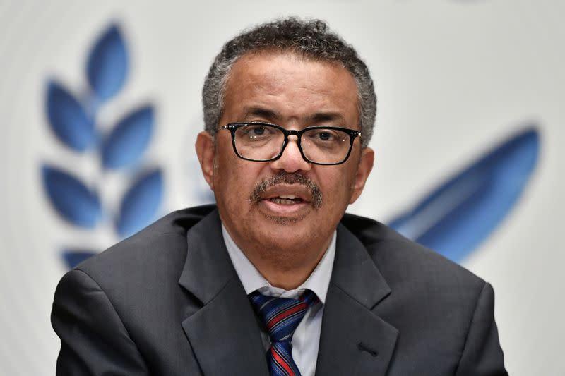 World Health Organization Director-General Tedros Adhanom Ghebreyesus attend a news conference in Geneva