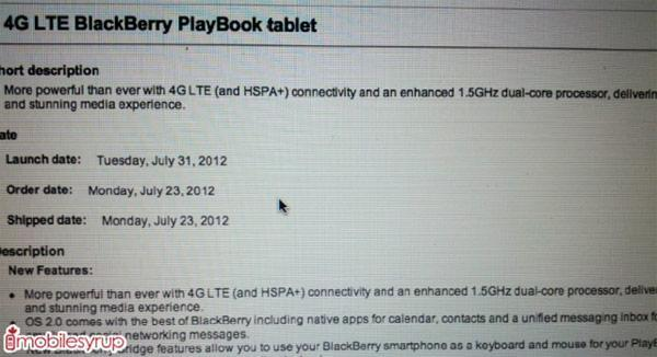 BlackBerry PlayBook with 4G LTE may reach Bell by July 31st, 1.5GHz chip tagging along for the ride