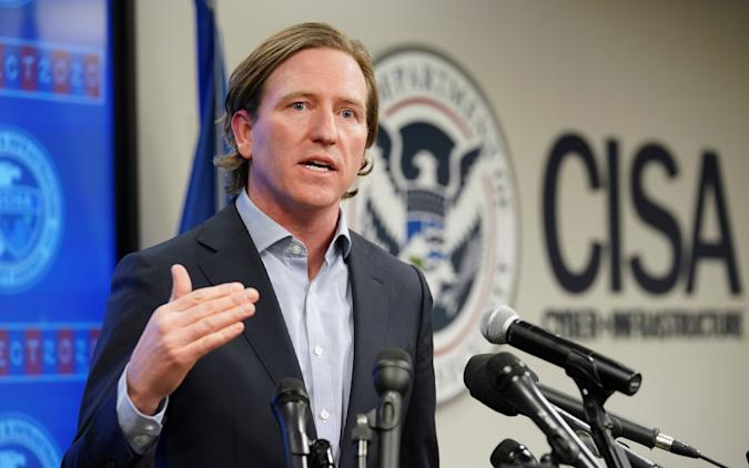 U.S. Cybersecurity and Infrastructure Security Agency (CISA) Director Christopher Krebs speaks to reporters at CISA's Election Day Operation Center on Super Tuesday in Arlington, Virginia, U.S., March 3, 2020.  REUTERS/Kevin Lamarque