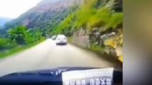 Huge boulder smashes car after tumbling down mountain in China