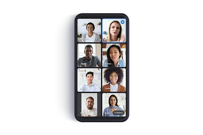 Google Meet tile view for video calls on mobile