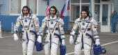 U.S. astronaut Chris Cassidy, left, Russian cosmonauts Anatoly Ivanishin, center, and Ivan Vagner. (AP)