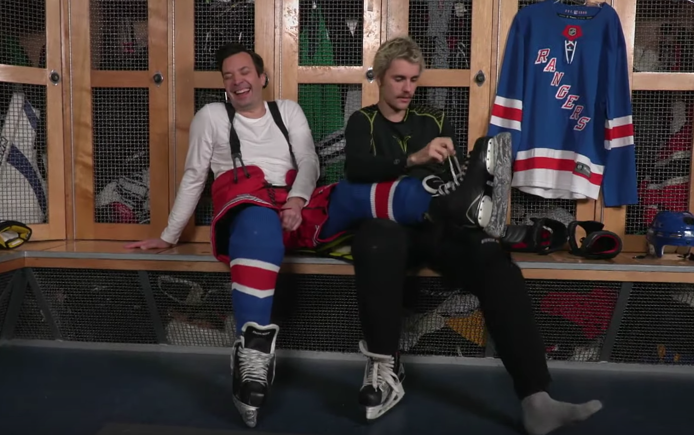 Image result for Justin Bieber Attempts To Teach Jimmy Fallon To Play Ice Hockey