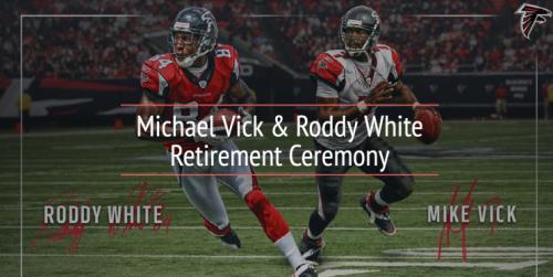 Michael Vick/Roddy White retirement ceremony. (Via Falcons)