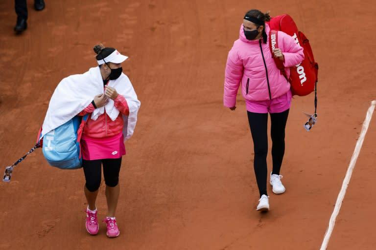 Winter wear: Victoria Azarenka and Danka Kovinic