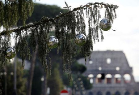 A Christmas tree is seen in downtown Rome, Italy December 19, 2017. REUTERS/Tony Gentile