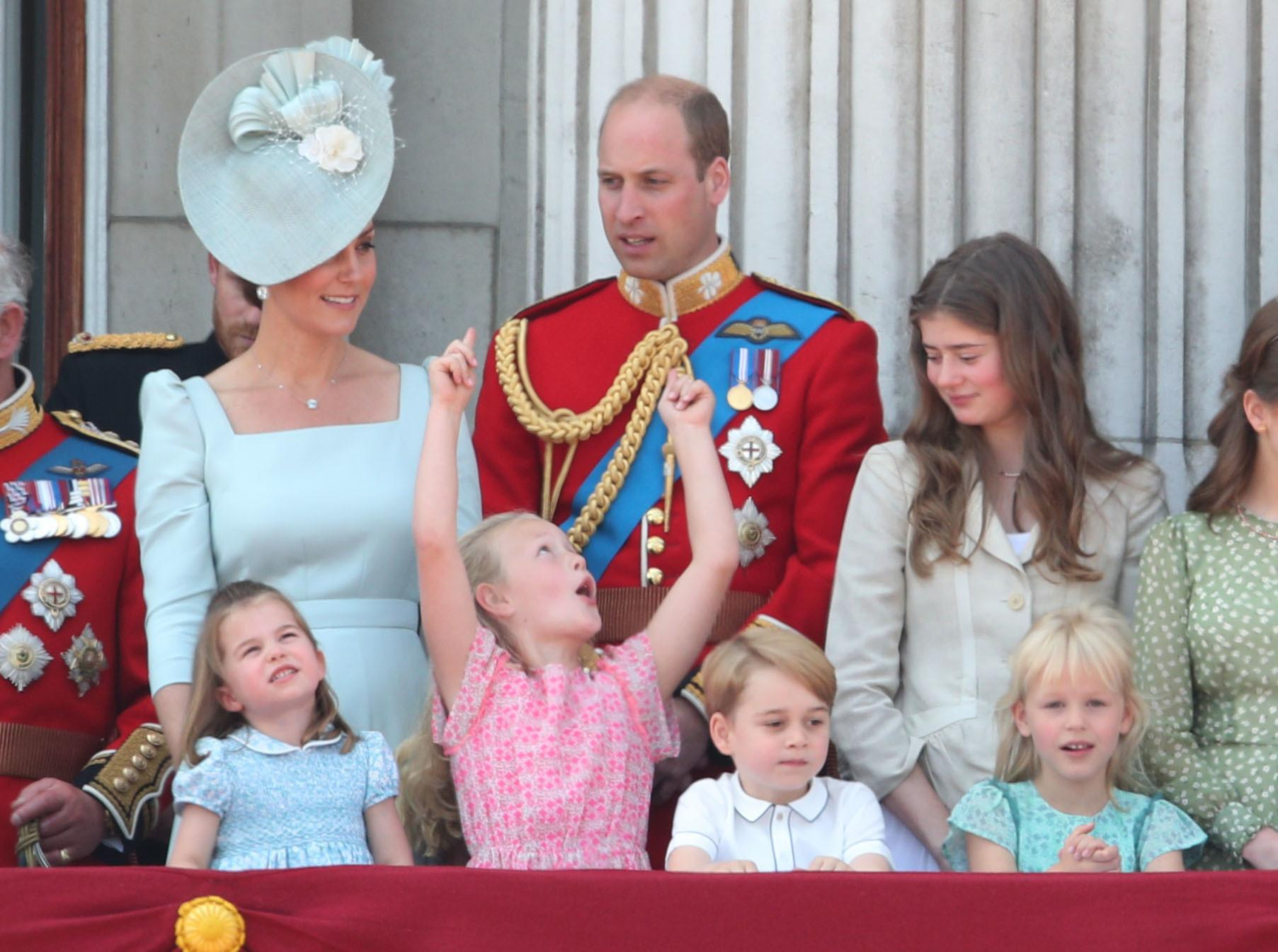 File photo dated 09/06/18 of (left to right) The Duke and Duchess of Cambridge with Princess Charlotte (bottom right), Savannah Phillips, Prince George and Isla Phillips on the balcony of Buckingham Palace, in central London, following the Trooping the Colour.