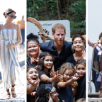 Pregnant Meghan cradles baby bump as her and Harry meet people in Queensland