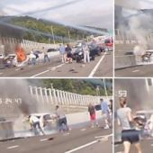 Woman's Rescue From Burning Car Caught in Dramatic Dashcam Footage