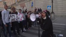 Police use pepper spray at Black Lives Matter protesters in Sweden