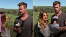 Chris Hemsworth invade transmissão ao vivo e ajuda repórter com previsão do tempo