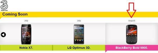 Blackberry Bold 9900 coming to Three UK in August