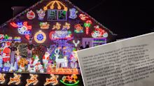 Threatening letter complaining about family's Christmas lights display