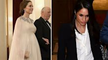 Meghan Markle and Kate Middleton wear two very different looks by same designer