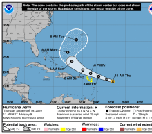 Jerry becomes a hurricane en route to Puerto Rico; Humberto knocks out power in Bermuda