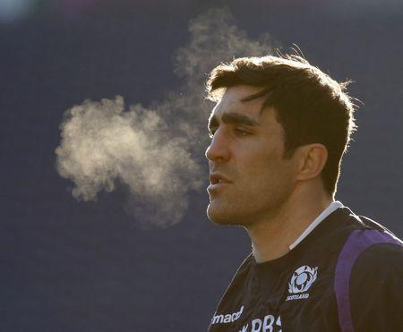 Brown waits for the ball during the Scotland team training session, in Edinburgh