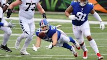 Giants' Niko Lalos, whom LeBron James shouted out pregame, makes wild INT in NFL debut