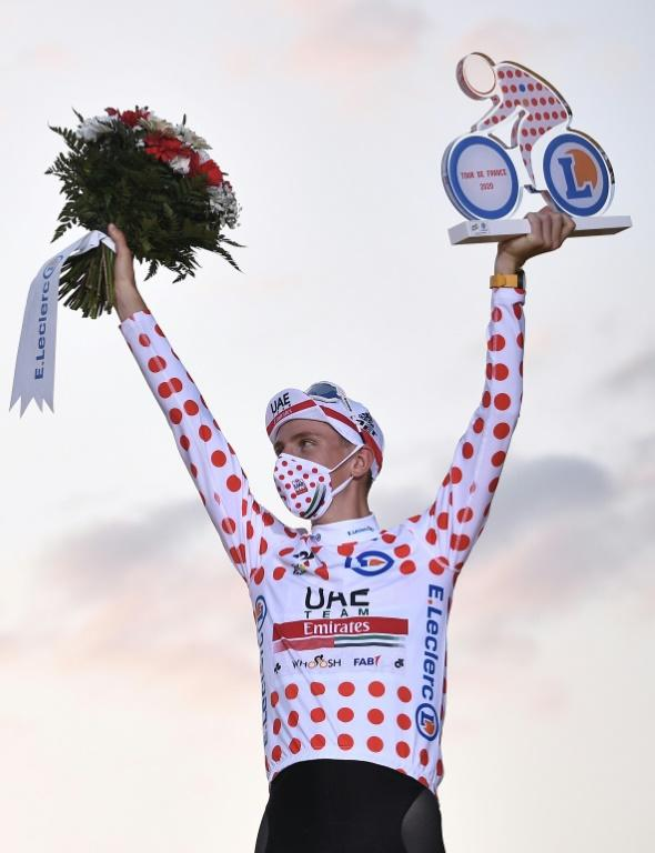 Pogacar with the polka dot jersey he won on Saturday