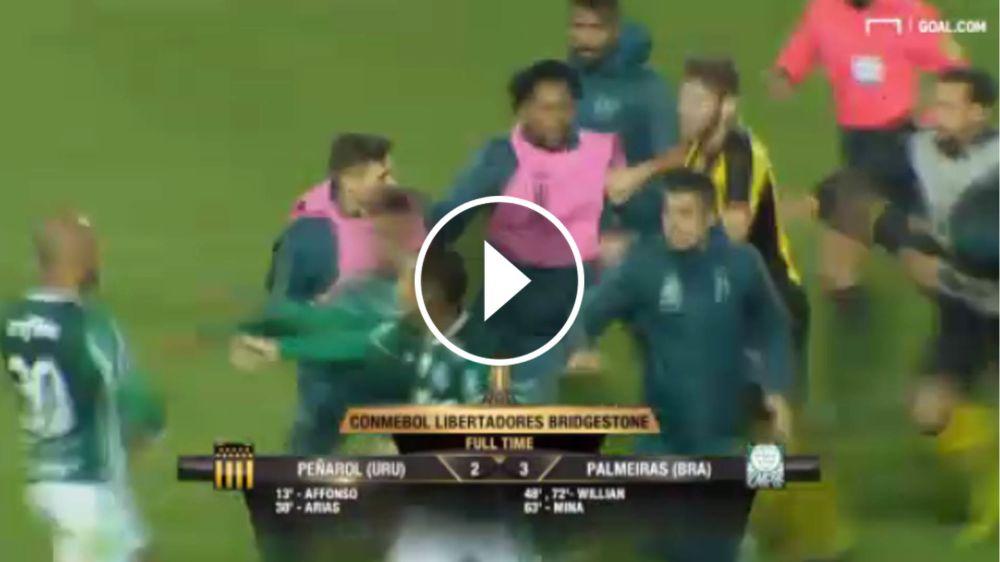 VIDEO: ¡Todos contra Felipe Melo! Peñarol y Palmeiras terminó a las trompadas