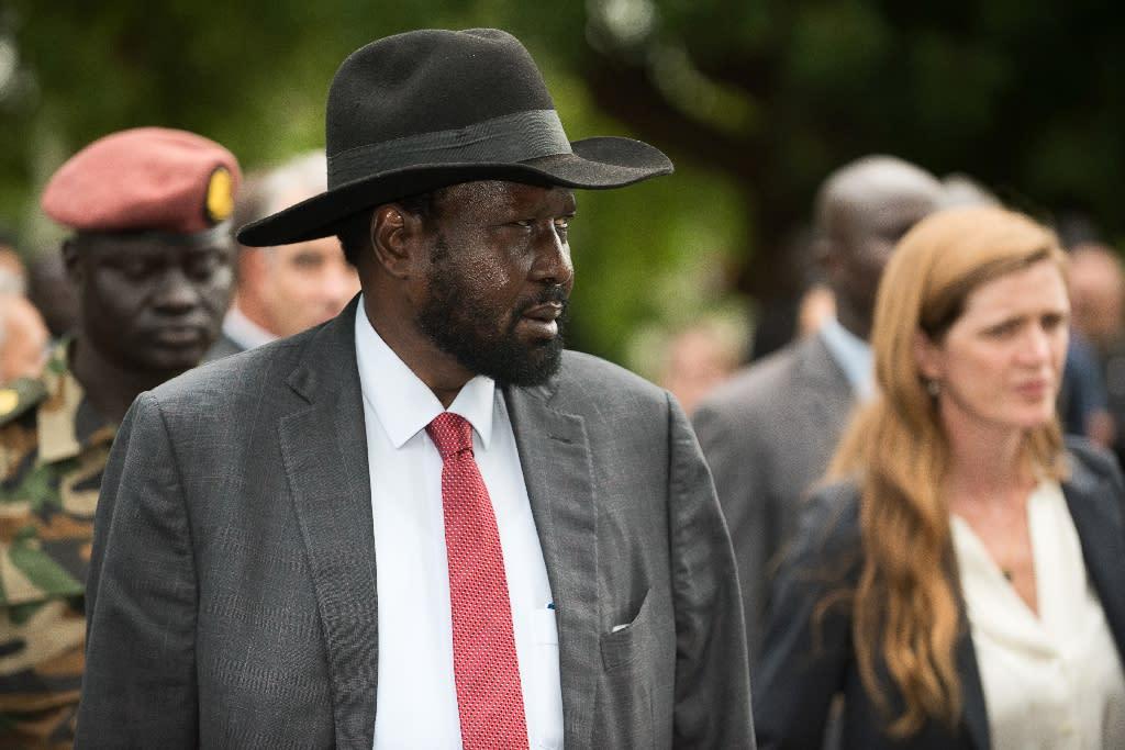 South Sudan's President Salva Kiir with then US Ambassador to the United Nations Samantha Power on September 4, 2016 (AFP Photo/Charles Atiki Lomodong)