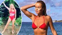TV host Amanda Holden, 49, stuns in vintage red swimsuit