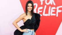 Kendall Jenner Dresses Up Daisy Dukes With Dramatic Top and Sky-High Stilettos -- See the Edgy Style