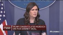 Trump congratulated Rupert Murdoch on the Fox-Disney deal