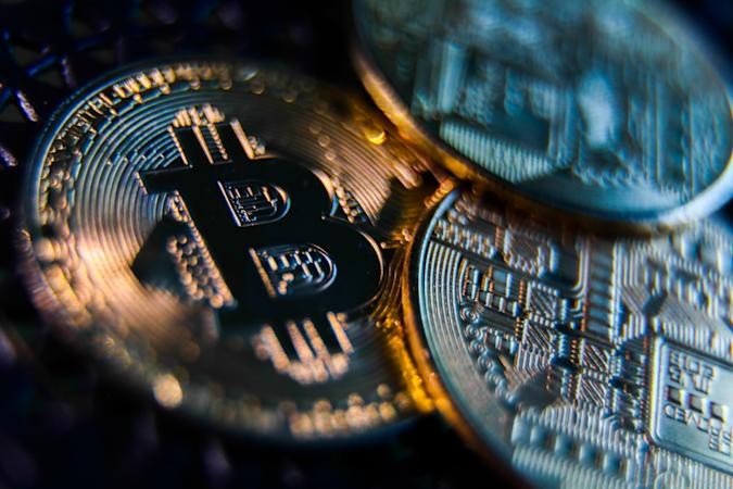 Representation of Bitcoin cryptocurrency is seen in this illustration photo taken in Krakow, Poland on April 27, 2021. (Photo Illustration by Jakub Porzycki/NurPhoto via Getty Images)