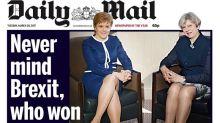 Theresa May defends 'sexist and moronic' Daily Mail front page