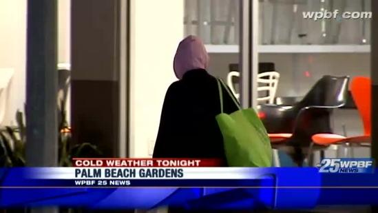 West Palm Beach residents bundled up on Clematis Street