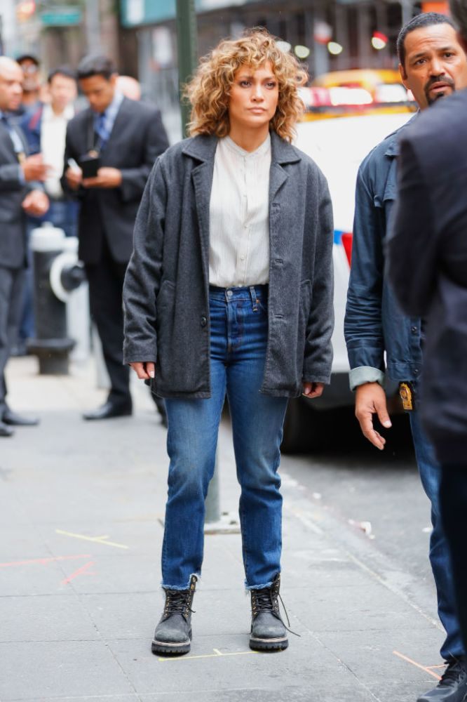 jennifer lopez shades of blue on set