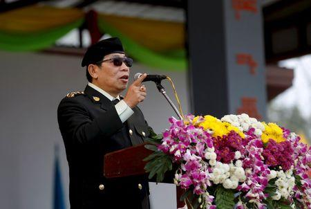 Lt. Gen. Yawd Serk, Chairman of the Restoration Council of Shan State gives a speech during a military parade celebrating the 69th Shan State National Day at Loi Tai Leng, the group's headquarters, on the Thai-Myanmar border February 7, 2016. REUTERS/Soe Zeya Tun