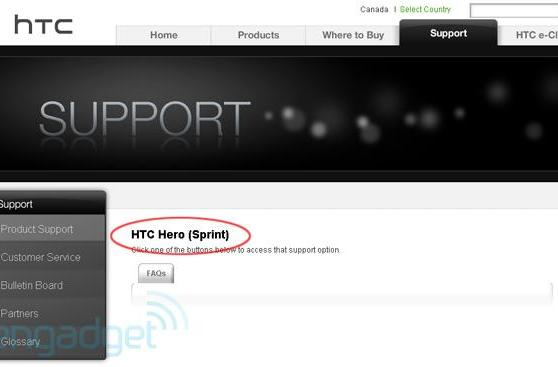 HTC support site reveals Hero for Sprint, Snap for Alltel