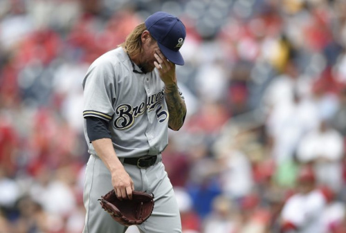 It was not a great day for Brewers starter Michael Blazek. (AP Photo)
