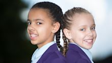 Million-to-one black and white twins are guaranteed to turn heads as they start secondary school