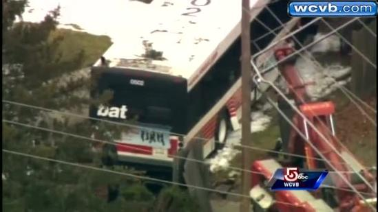Brockton bus crashes into house after hit by truck