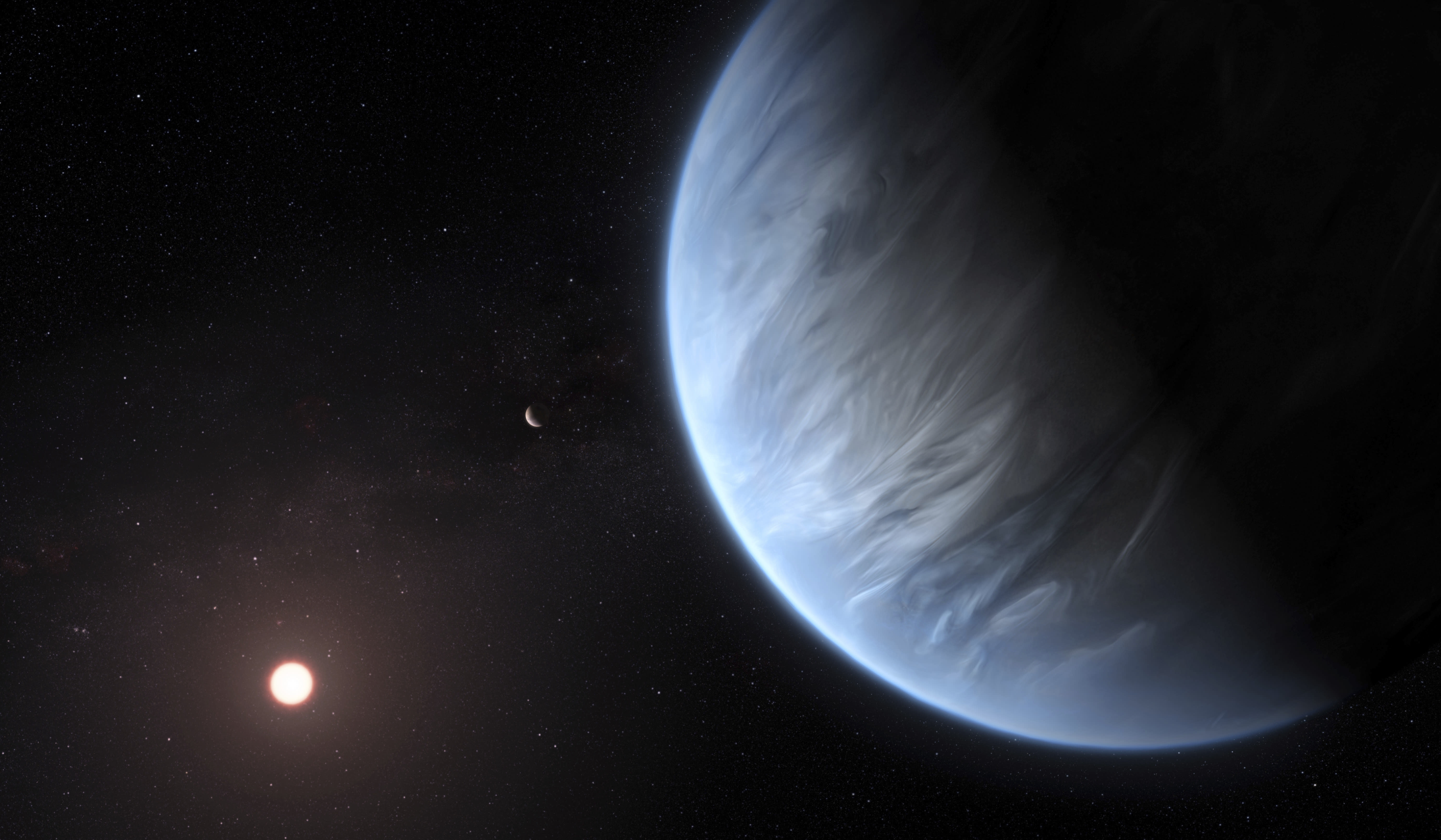 Hubble Finds First Water Vapor on Habitable-Zone Exoplanet