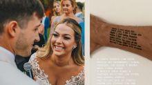 Vinícius Martinez tatua música que Carol Dantas entrou no casamento