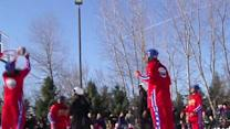 Raw: Globetrotters Win Basketball Game on Ice
