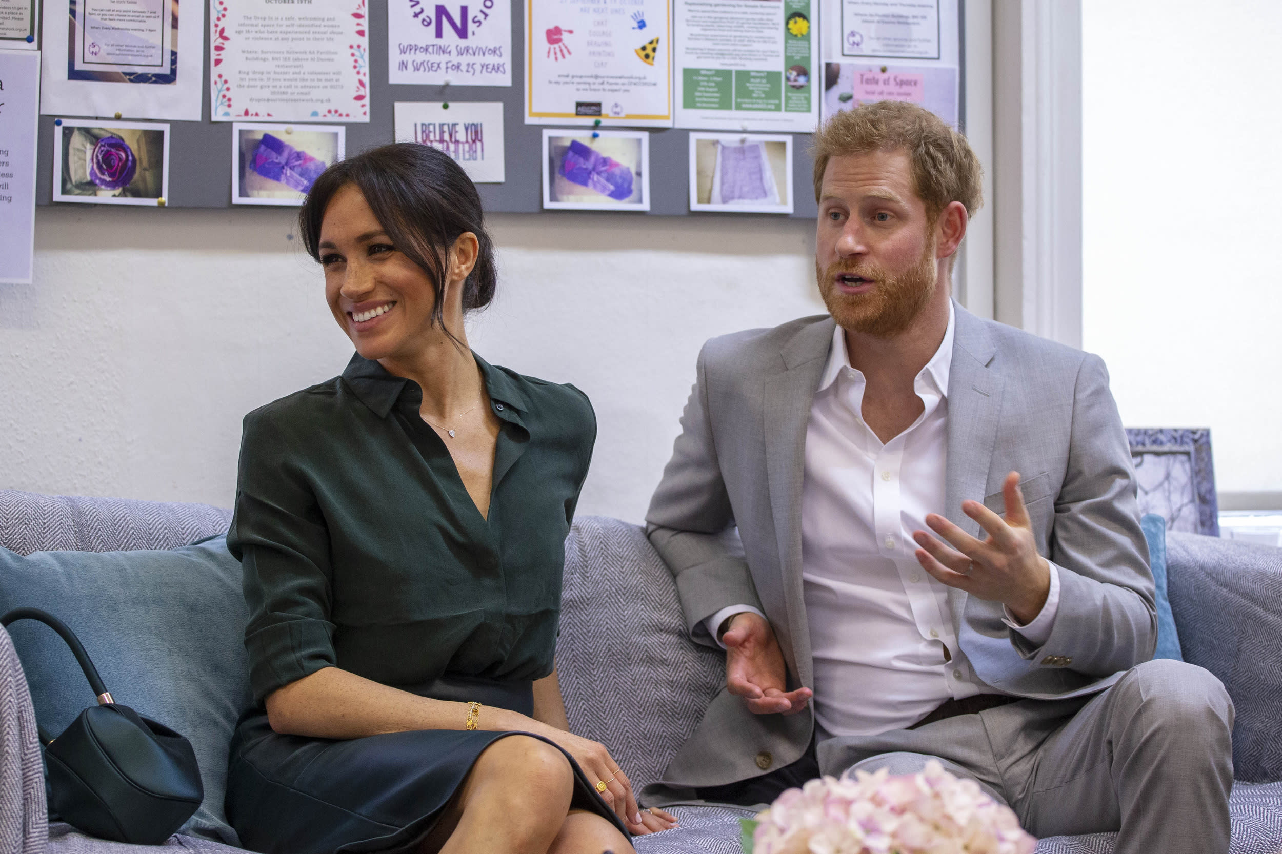 BRIGHTON, ENGLAND - OCTOBER 03: Prince Harry, Duke of Sussex and Meghan, Duchess of Sussex attend an engagement at the charity, 'Survivors' Network' during an official visit to Sussex on October 3, 2018 in Brighton, United Kingdom.  The Duke and Duchess married on May 19th 2018 in Windsor and were conferred The Duke & Duchess of Sussex by The Queen. (Photo by WPA Pool/Getty Images)