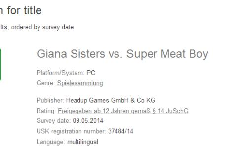 Giana Sisters vs. Super Meat Boy rated in Germany [Update]