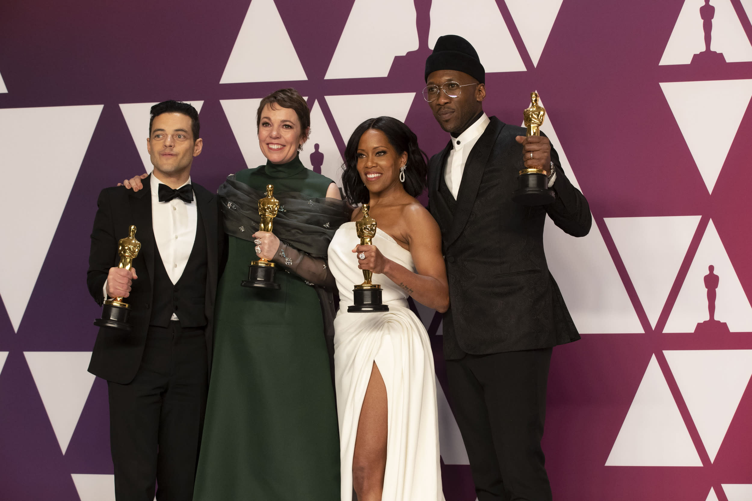 THE OSCARS® - The 91st Oscars® broadcasts live on Sunday, Feb. 24, 2019, at the Dolby Theatre® at Hollywood & Highland Center® in Hollywood and will be televised live on The ABC Television Network at 8:00 p.m. EST/5:00 p.m. PST.  (Rick Rowell via Getty Images) RAMI MALEK, OLIVIA COLMAN, REGINA KING, MAHERSHALA ALI