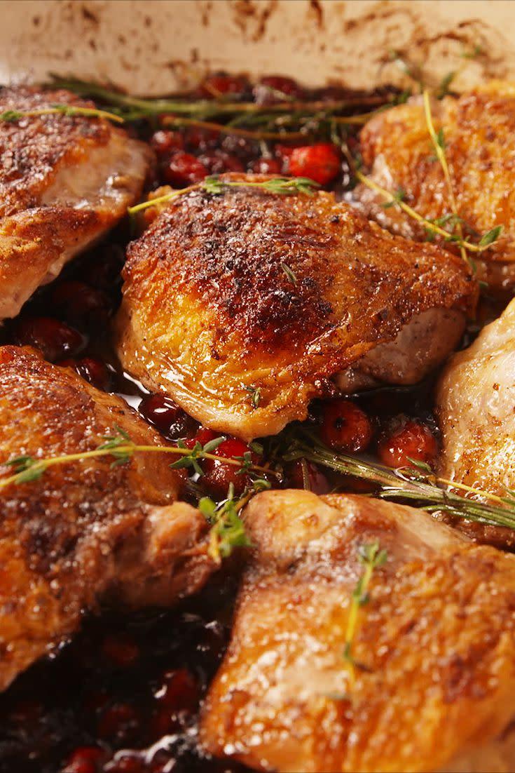 "<p>A festive holiday dinner idea.</p><p>Get the recipe from <a href=""https://www.delish.com/cooking/recipe-ideas/recipes/a57005/cranberry-balsamic-chicken-recipe/"" rel=""nofollow noopener"" target=""_blank"" data-ylk=""slk:Delish"" class=""link rapid-noclick-resp"">Delish</a>.</p><p><strong><a href=""https://www.amazon.com/Creuset-Signature-Enameled-Cast-Iron-5-Quart/dp/B0076NOSOS"" rel=""nofollow noopener"" target=""_blank"" data-ylk=""slk:BUY NOW"" class=""link rapid-noclick-resp"">BUY NOW</a><em> Le Creuset Enameled Cast Iron Braiser, $350, amazon.com</em></strong></p>"