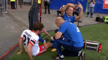German player scores, then injures knee celebrating, out for 7 months (video)