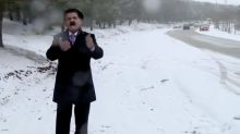 Kurdish weatherman suffers snowball attack
