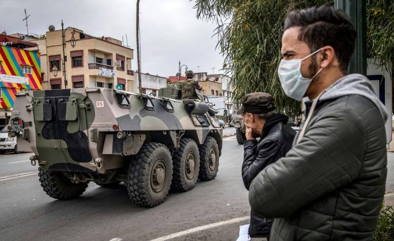 Morocco deployed armoured vehicles in the capital Rabat to ensure compliance with emergency measures imposed due to the coronavirus (AFP Photo/FADEL SENNA)