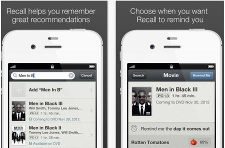 Daily iPhone App: Recall helps you remember that recommendation