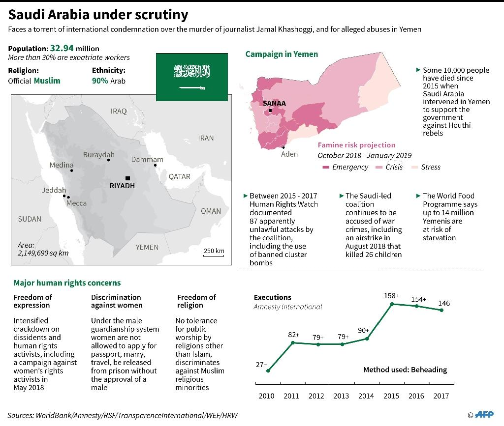 Factfile on major human rights concerns in Saudi Arabia. (AFP Photo/Gal ROMA)