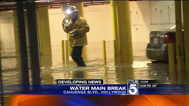 Broken Water Main Floods Hollywood Hills Homes, Parking Garage