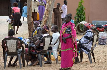 Women displaced in recent fighting camp at the Anglican church compound in Juba, South Sudan, July 12, 2016. REUTERS/Stringer